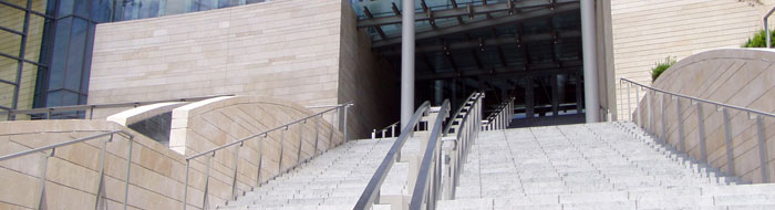 City Hall Steps: This photo shows the grand staircase leading from Fourth Avenue to the entrance to Seattle's City Hall.