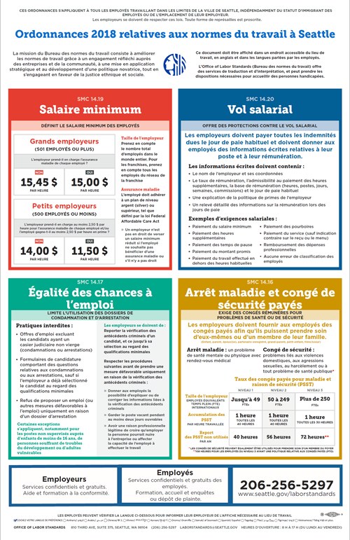 2018 Seattle Labor Standards Ordinances Poster