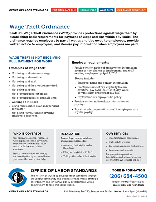 Fact Sheet - Wage Theft
