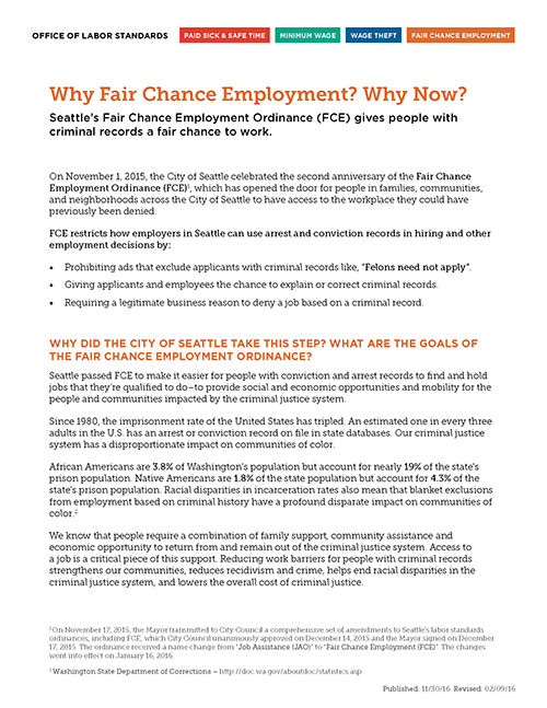 Why Fair Chance Employment? Why Now?