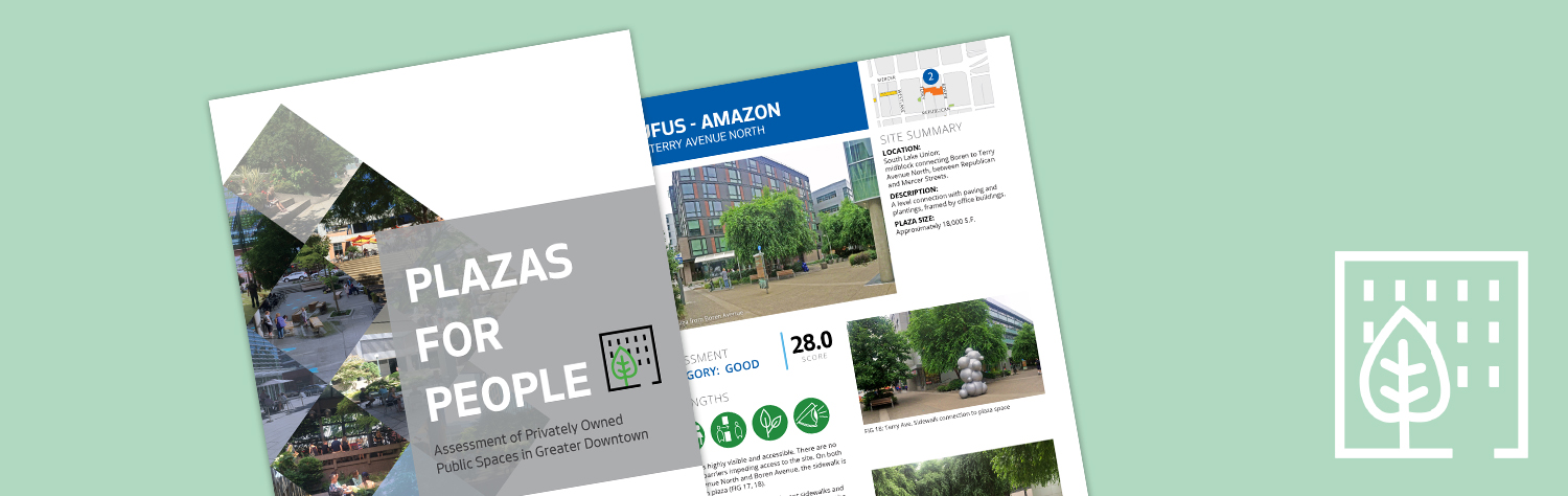 Banner image showing the cover of the Plazas for People report, with a logo of a tree in front of a building to the right of it.