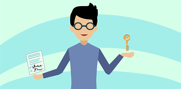 Illustration of a man holding a key.