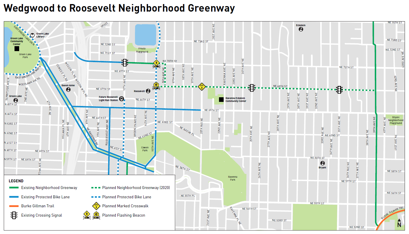 A map of the proposed greenway running mostly along NE 68th St