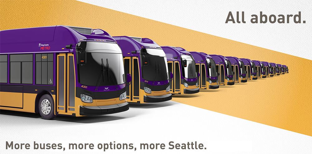 Line of buses, tagline: More Buses, More Options, More Seattle