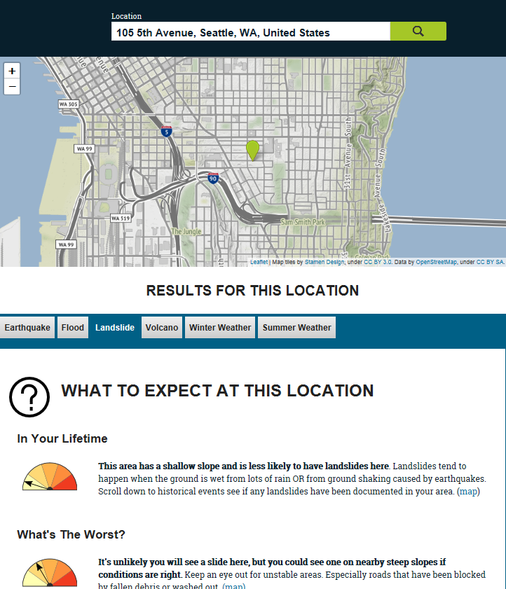 Screenshot of Seattle Ready Tool
