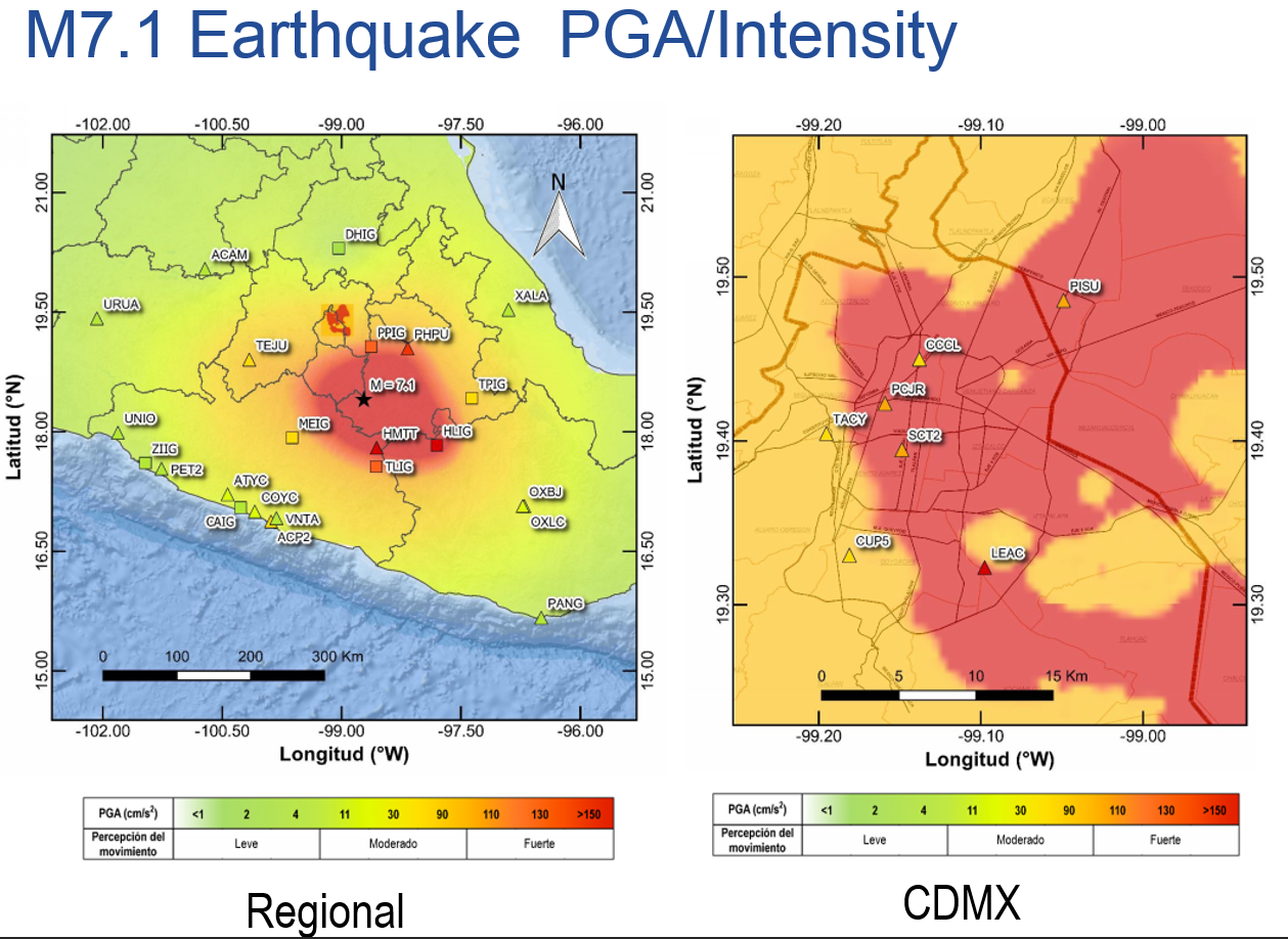 Mexico Earthquake shake intensity map