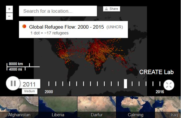 Interactive refugee map link.