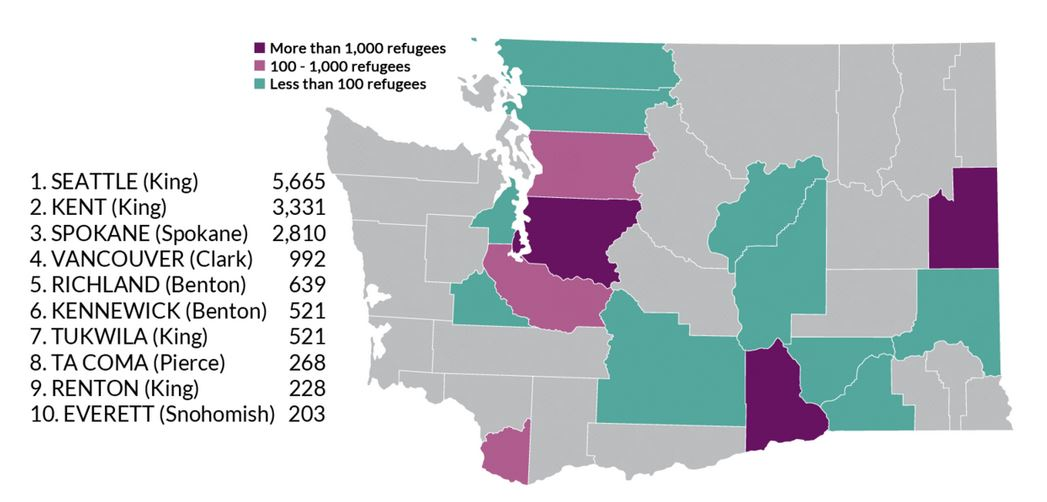 KUOW map of refugees stats coming to Seattle.