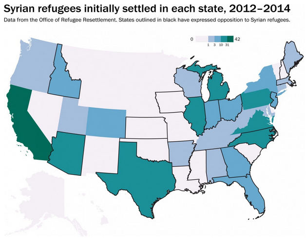 Syrian refugee resettlement map by state
