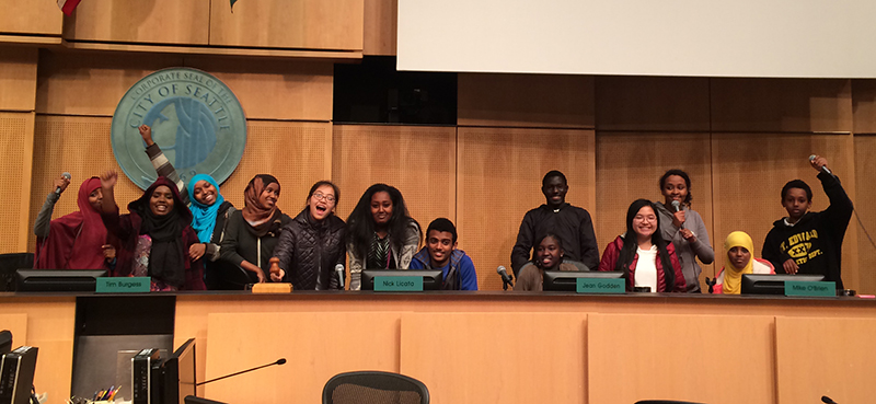 Youth hanging out in council chambers