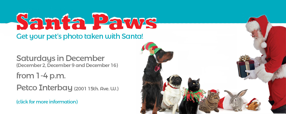 Santa Paws is coming to town Dec 2, 9 and 16 at Petco Interbay