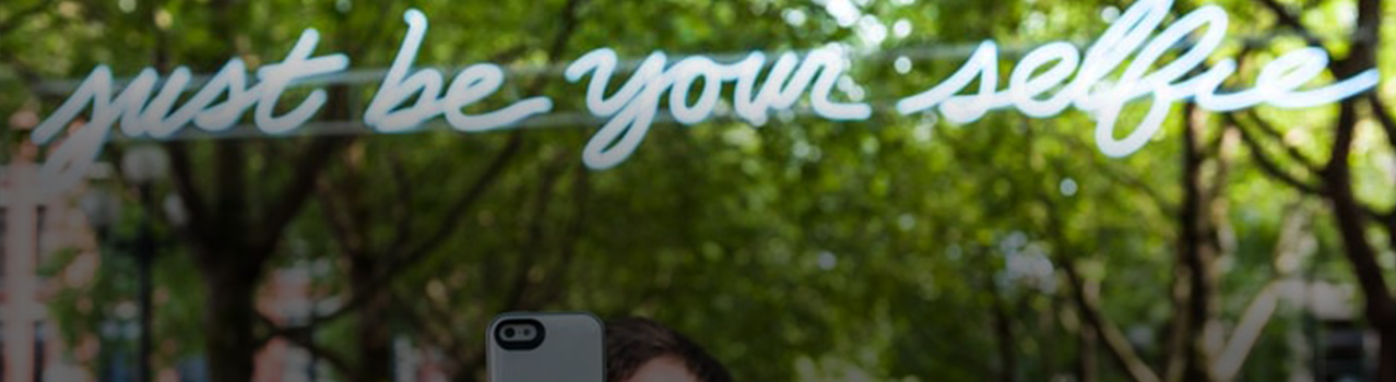 "Dylan Neuwirth, ""JUST BE YOUR SELFIE,"" 2014, temporary installation in Occidental Park. Photo by Robert Wade."