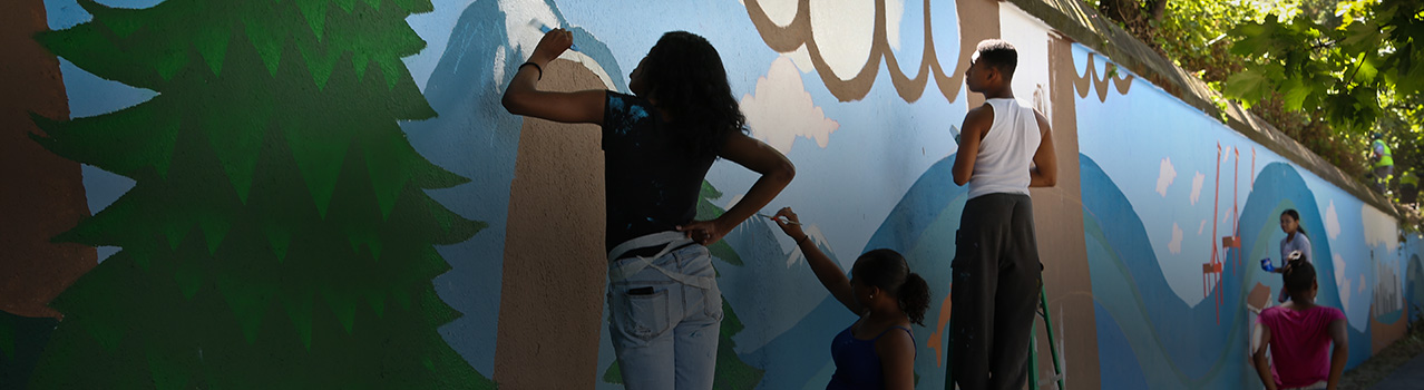 The Delridge Neighborhood Development Association partnered with the Work Arts Readiness Program to produce a mural at Youngstown Cultural Arts Center. Photo: Jenny Crooks