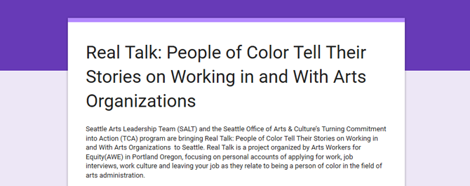 "Real Talk: People of Color Speak Out on Working in and with Arts Organizations <span class=""glyphicon glyphicon-new-window""></span>"