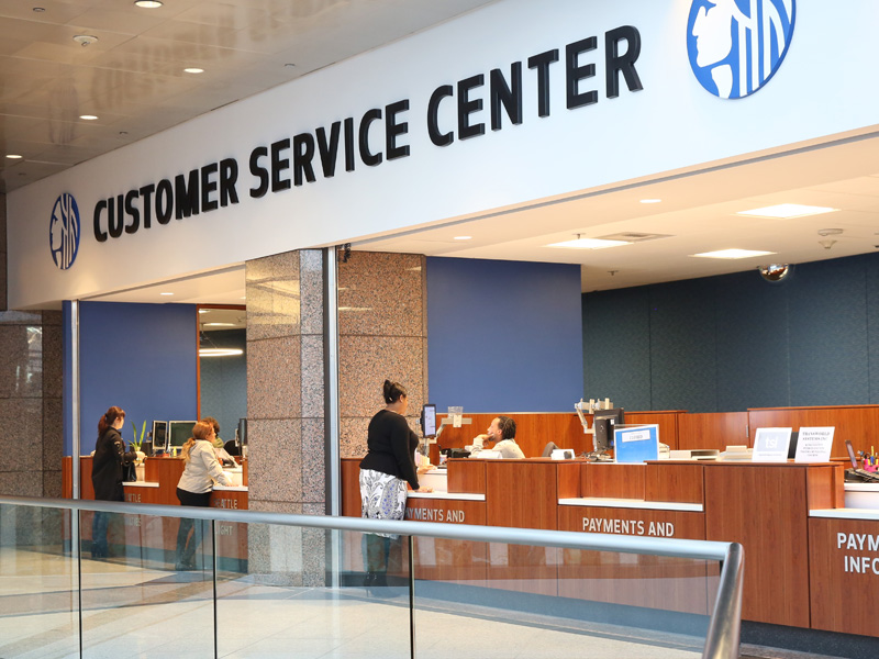 The counters at the Downtown Customer Service Center