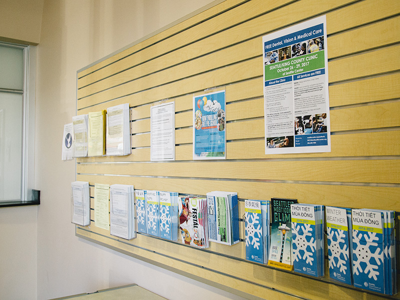Fliers and brochures on the wall of the Southeast Customer Service Center