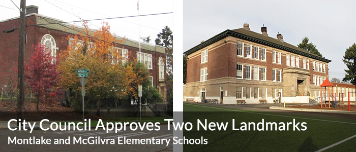 New Landmarks: Montlake and McGilvra (right) Elementary Schools