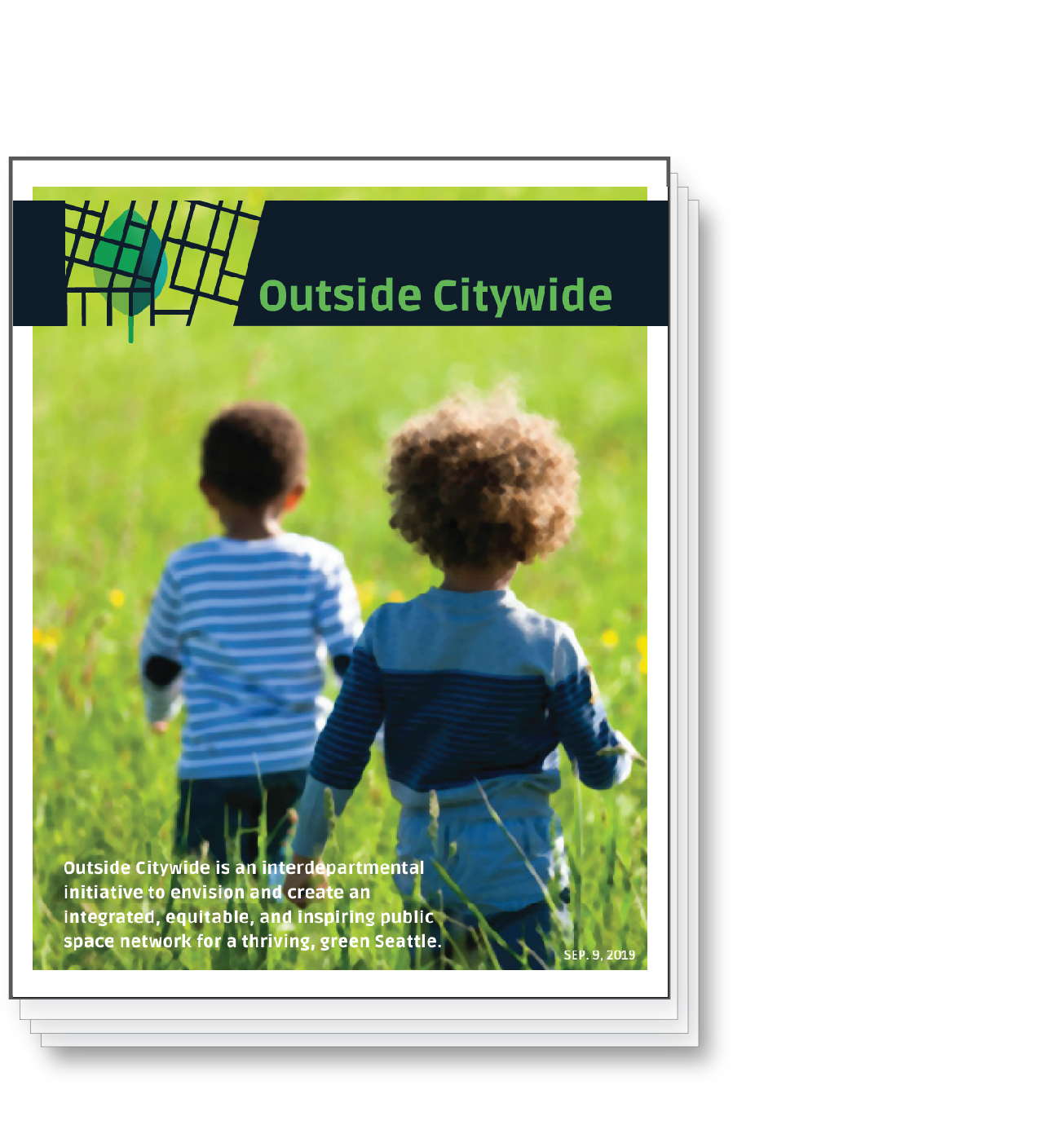 Outside Citywide Vision Booklet Cover with two kids in a grass field