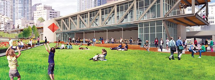 A lawn is featured on the new Overlook Walk connecting Pike Place Market and the waterfront, creating a place to relax and recreate while enjoying elevated views of Elliott Bay.
