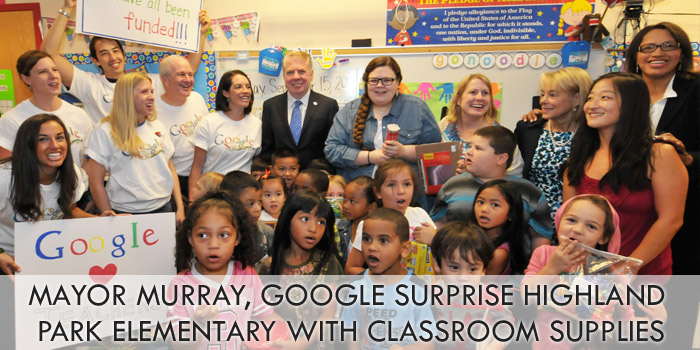Mayor Murray, Google surprise Highland Park Elementary with classroom supplies