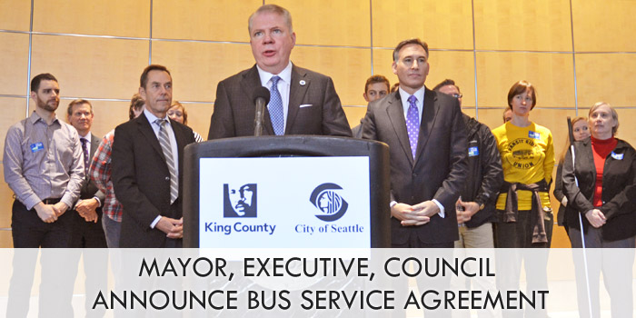 Mayor, Executive, Council celebrate transit, announce bus service agreement
