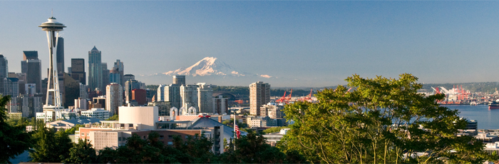 Seattle skyline and Mount Rainier image