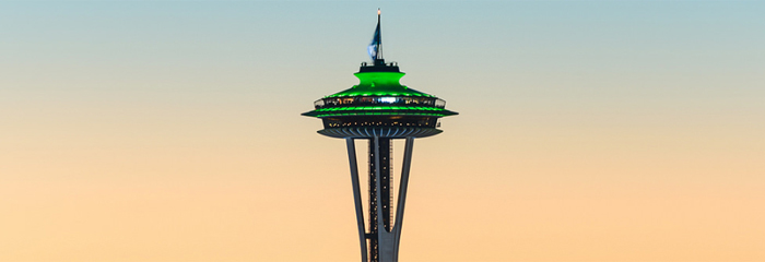 The Seattle Space Needle honors our champions, the Seahawks