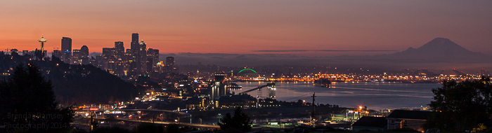 Downtown Seattle and Puget Sound sunrise photo