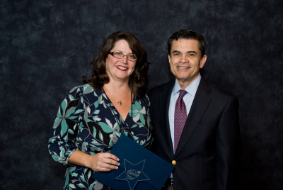 Photo of Patty Breidenbach (left)  & Supt. Carrasco (right)