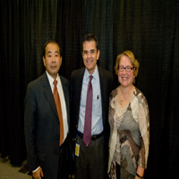 Master of Ceremony - Gary Maehara and Barbara Menzal standing with Jorge Carrasco