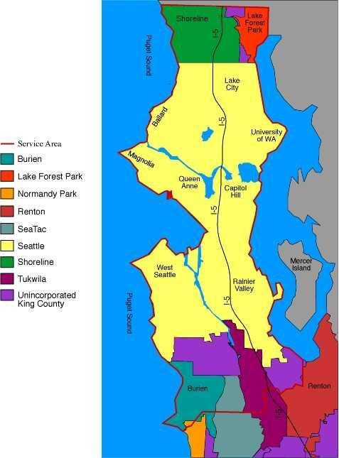 Map of Seattle with rate areas