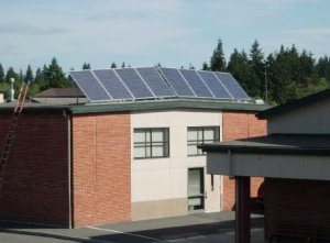 Solar module installation on roof of the Band Room.