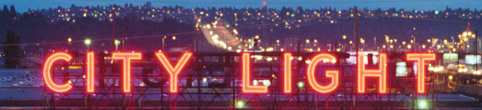 City Light Sign at Night