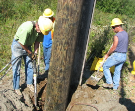 Installing wooden pole