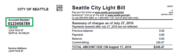 Seattle City Light Account Number