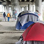 Tents under I-5 overpass